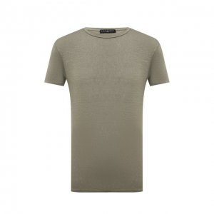 Льняная футболка Daniele Fiesoli. Цвет: хаки