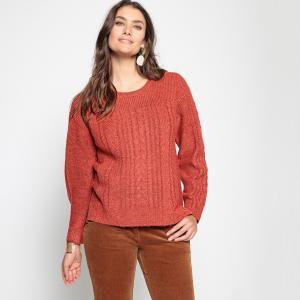 Пуловер с узором косы из плотного трикотажа ANNE WEYBURN. Цвет: кирпичный меланж,экрю меланж