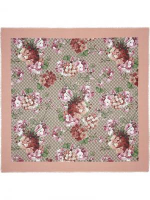 Шаль с рисунком Blooms Gucci. Цвет: розовый