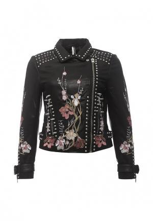 Куртка кожаная Topshop TO029EWRMD75. Цвет: черный