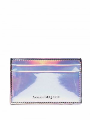 Картхолдер с тисненым логотипом Alexander McQueen. Цвет: серебристый
