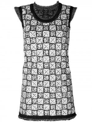 Вязаное платье в пайетках Chanel Pre-Owned. Цвет: серый