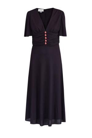 Струящееся платье с оригинальными пуговицами GUCCI. Цвет: черный