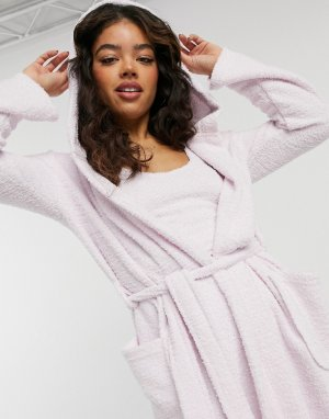 Розовый комбинированный пушистый халат макси для дома -Розовый цвет ASOS DESIGN