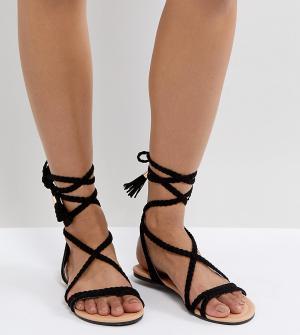 Плетеные сандалии с завязками ASOS FAYLA DESIGN. Цвет: черный