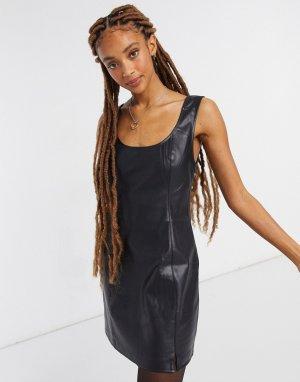 Черное платье мини из эластичной искусственной кожи без материалов животного происхождения -Черный BB Dakota