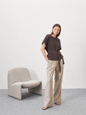 Блуза Ella с боковыми поясами GATE31. Цвет: коричневый