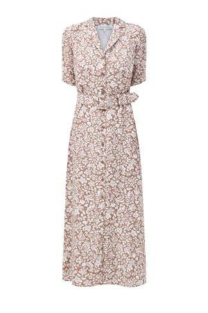 Шелковое платье с широким ремнем из кожи ALEXANDER TEREKHOV. Цвет: мульти