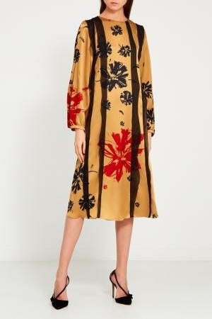 Платье с цветами и оборками Chapurin. Цвет: коричневый