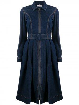 Джинсовое платье-рубашка Tommy Hilfiger. Цвет: синий
