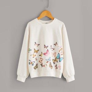 Пуловер с принтом бабочка для девочек SHEIN. Цвет: бежевые пастельный