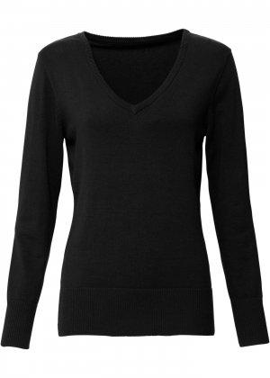 Пуловер тонкой вязки с V-образным вырезом горловины bonprix. Цвет: черный