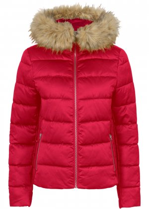 Стеганая куртка с капюшоном bonprix. Цвет: красный