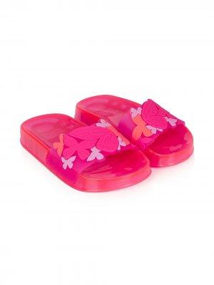 Шлепанцы с цветочным принтом Sophia Webster Mini. Цвет: розовый