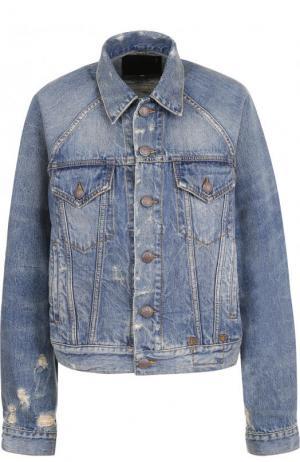 Джинсовая куртка свободного кроя с потертостями R13. Цвет: синий