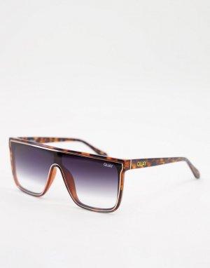 Солнцезащитные очки унисекс в черепаховой оправе с прямой верхней планкой Quay X Maluma Nightfall-Коричневый цвет Australia