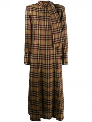 Платье макси в клетку A.F.Vandevorst. Цвет: коричневый