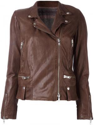 Кожаная куртка на молнии S.W.O.R.D 6.6.44. Цвет: коричневый