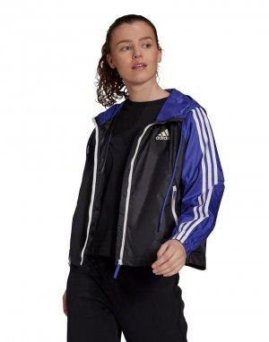 Ветровка на молнии черного и фиолетового цвета с 3 полосками adidas Outdoors-Черный цвет performance