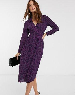 Плиссированное платье миди с леопардовым принтом -Розовый Ted Baker