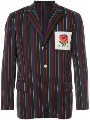 Полосатый блейзер с заплаткой розой Kent & Curwen. Цвет: разноцветный