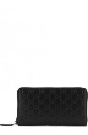 Кожаный футляр для документов на молнии с тиснением Signature Gucci. Цвет: черный