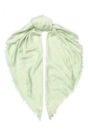 Платок из смеси шелка и шерсти Burberry. Цвет: светло-зеленый