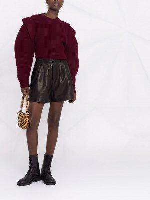 Кожаные шорты с завышенной талией P.A.R.O.S.H.. Цвет: черный