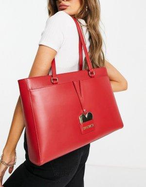 Большая красная сумка-тоут -Черный цвет Love Moschino