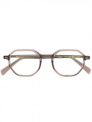 Солнцезащитные очки в шестиугольной оправе Lunor. Цвет: коричневый