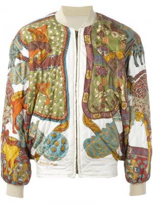 Стеганая куртка-бомбер Hermès Vintage. Цвет: телесный