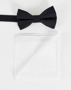 Черный атласный галстук-бабочка и белый платок для нагрудного кармана -Черный цвет ASOS DESIGN