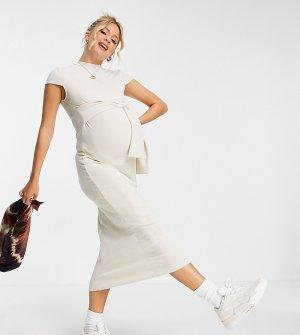 Кремовое платье миди с поясом и короткими рукавами Maternity-Коричневый цвет Topshop
