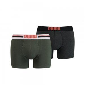 Мужское нижнее белье Placed Logo Boxer Shorts 2 Pack PUMA. Цвет: зеленый