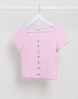 Розовая футболка в рубчик из органического хлопка -Розовый Monki