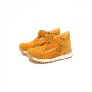 Кожаные кроссовки Angulus. Цвет: жёлтый