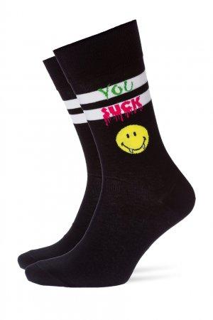 Черные трикотажные носки Smiley Sucker Burlington. Цвет: черный