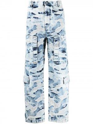 Камуфляжные джинсы с эффектом потертости Valentino. Цвет: синий