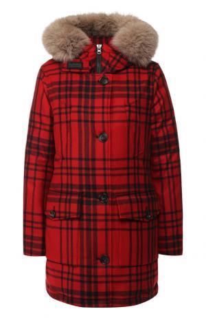 Парка из смеси шерсти и кашемира с меховой отделкой капюшона Woolrich. Цвет: красный