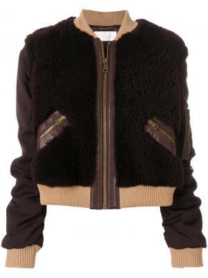 Куртка-бомбер с контрастной отделкой Chloé. Цвет: коричневый