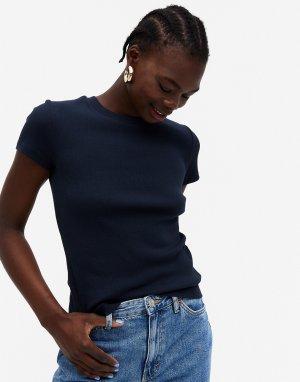 Темно-синяя футболка из органического хлопка в рубчик Magdalena-Темно-синий Monki