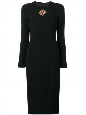 Платье миди с длинными рукавами и логотипом Dolce & Gabbana. Цвет: черный