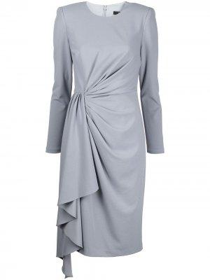 Платье с запахом и драпировкой Badgley Mischka. Цвет: серый