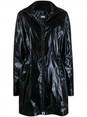 Парка Ikonik с эффектом металлик Karl Lagerfeld. Цвет: черный