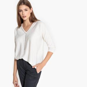 Пуловер с V-образным вырезом и украшением MULTRA SUD EXPRESS. Цвет: кремовый