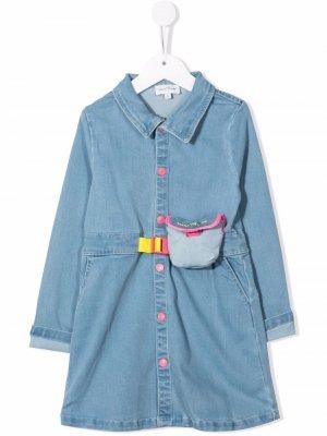Джинсовое платье с длинными рукавами The Marc Jacobs Kids. Цвет: синий