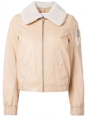 Куртка-бомбер с шерстяным воротником See By Chloé. Цвет: телесный