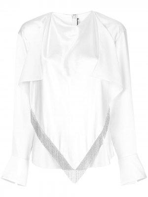 Блузка с шарфом бахромой Alexander Wang. Цвет: белый