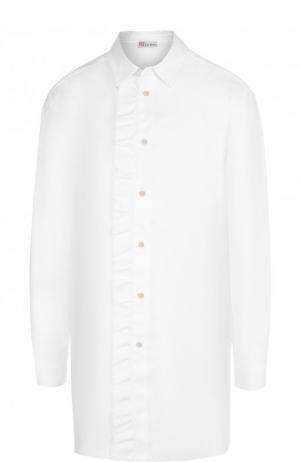 Удлиненная хлопковая блуза с оборкой REDVALENTINO. Цвет: белый