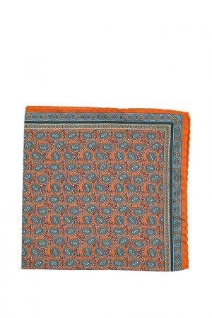 Карманный платок ETON. Цвет: оранжевый, зелёный с узором